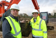 Abel Homes production manager Robert Loudoun left and managing director Paul LeGrice cut the first sod at Gressenhall web
