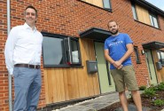 Ben Nurse right ourside his new home with Abel Homes managing director Paul LeGrice sm