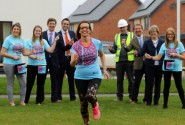Clare Cornish of Abel Homes trains for the London Marathon cheered on by colleagues sm