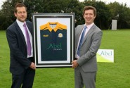 Hingham Cricket Club chairman Daniel Key left with Chris Abel from club sponsor Abel Homes 500