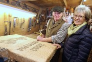 Maggie Abel and woodcarver Carl Preston in Mr Prestons Scarning workshop sm