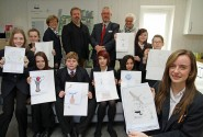 Students from Nicholas Hamond Academy with their artwork ideas at Swans Nest in Swaffham