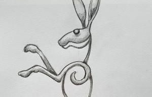 Watton Green dancing hare sketch 500px