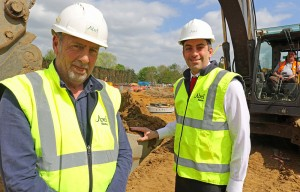 Abel Homes site manager Alan Read left and managing director Paul LeGrice cut the first sod at the firms new Watton Green site sm