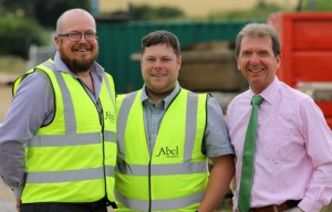 Tim Walsingham left and Danny Pinner centre with Abel Homes chairman Tony Abel 500px